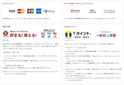 アールワイレンタルの決算サービス - クレジットカード
